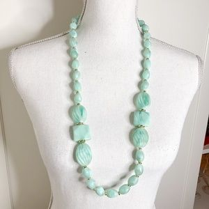 Mint Green Vintage Acrylic Long Beaded Necklace